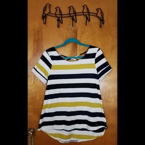 Andree Fitted Striped A-Line Top